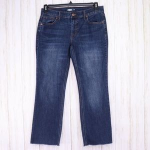 Old Navy Blue Flare Ankle Jeans Size 8 Raw Hem